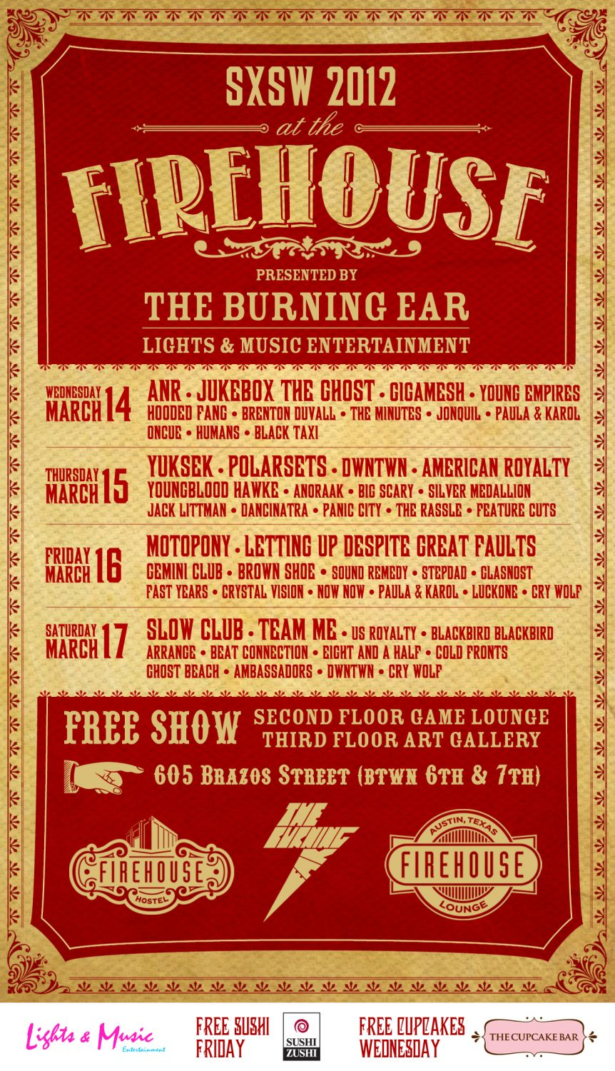 The burning ear sxsw 2012 headliners gigamesh for Housse de racket chateau