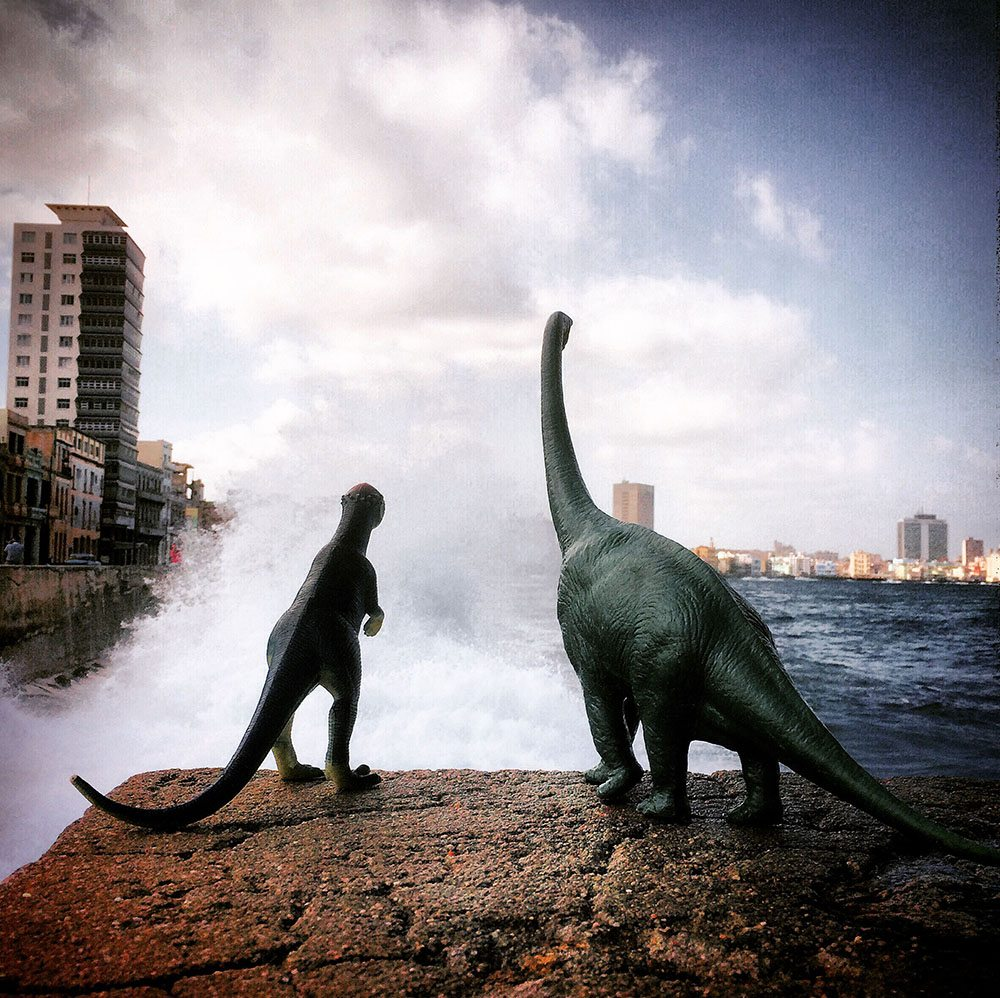 PIC BY JORGE SAENZ / CATERS NEWS - (Pictured: Jorge Saenzs toy dinosaurs in Cuba) These incredible images may look like a scene from The Land Before Time, but they are actually created using TOY DINOSAURS. Professional photographer Jorge Saenz began the inventive series as a fun side project to his regular job. On his travels, Jorge has snapped the dinosaurs in countries such as Argentina, Brazil, Chile, Peru and Paraguay. Some of the scenes, such as those atop of mist-covered mountain ranges, look as though they were taken 100 million years ago. - SEE CATERS COPY